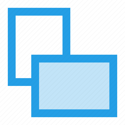 back, front, handle, interface, multiple, screen, window icon