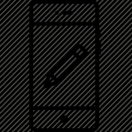erase, interface, mobile, pen, pencil, phone, tool icon