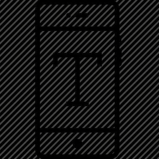 font, interface, mobile, text, tool, type, write icon