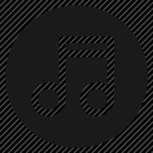 audio, circle, circular, music, musical note, round, web icon