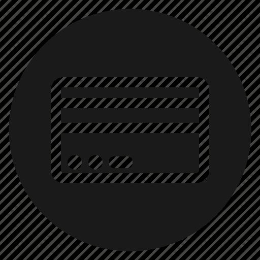 circle, circular, credit card, pay, payment, round, web icon