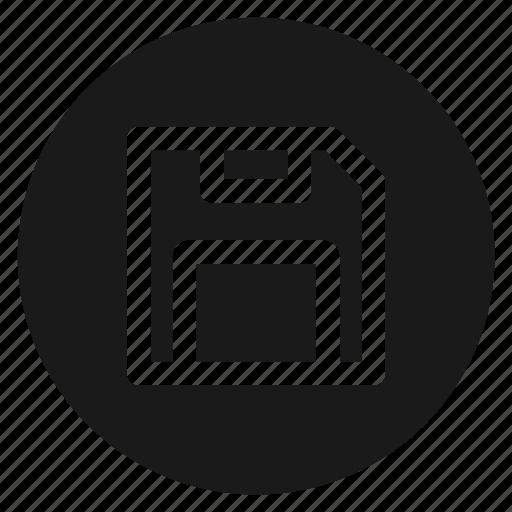 circle, circular, diskette, floppy disk, guardar, round, save, web icon