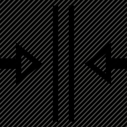 Arrow, Close, Closing, Door, Narrow Icon