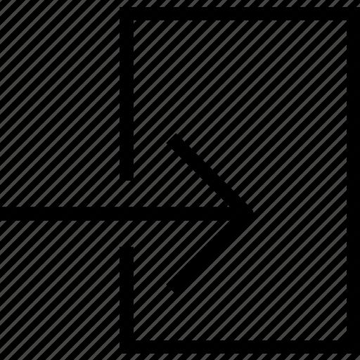 arrow, in, inside icon