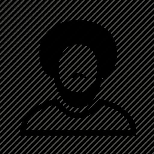 account, afro, beard, line, moustache, profile, user icon