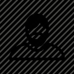 account, beard, hair, line, man, profile, user icon
