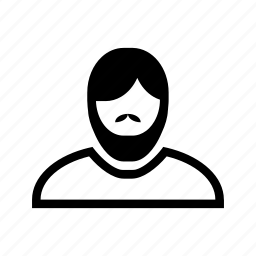 account, beard, line, man, moustache, profile, user icon