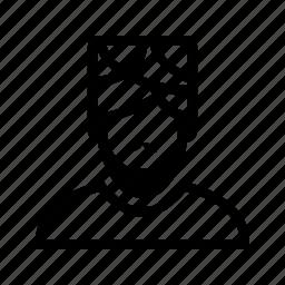beard, line, moustache, muslim, profile, turban, user icon