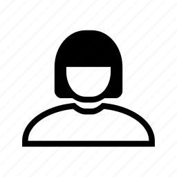 account, hair, line, profile, user, woman icon