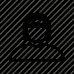 account, hair, headband, line, profile, user, woman icon