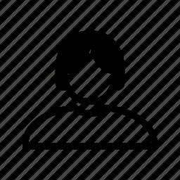 account, hair, line, profile, user icon