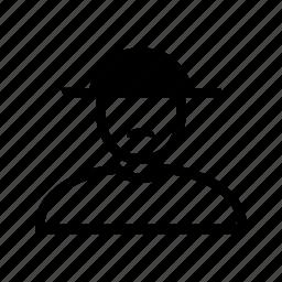 account, hat, line, man, moustache, profile, user icon
