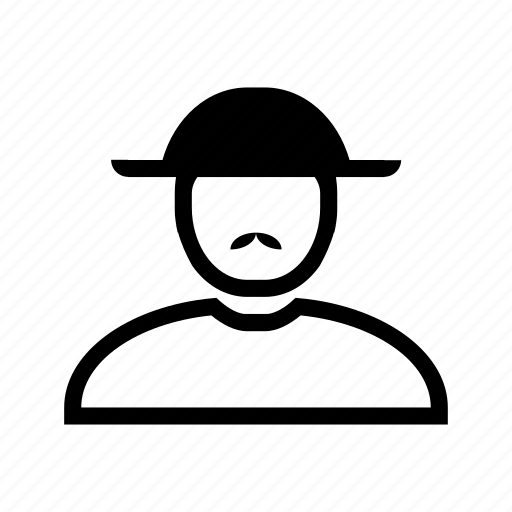 account, hat, line, man, moustache, profile, user icon