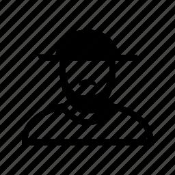 account, beard, hat, line, moustache, profile, user icon