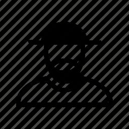 account, beard, hat, line, man, profile, user icon