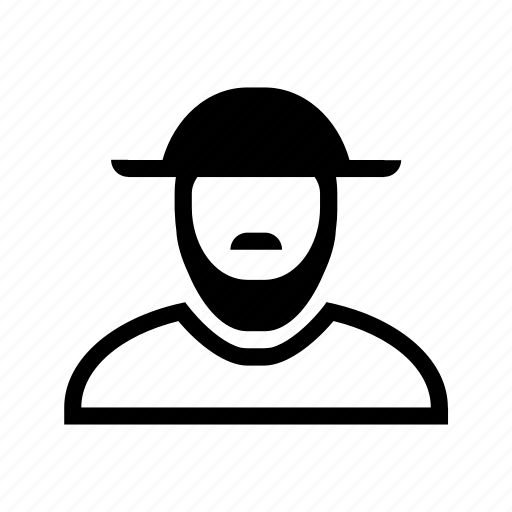 account, beard, hat, line, moustache, profile, user icon