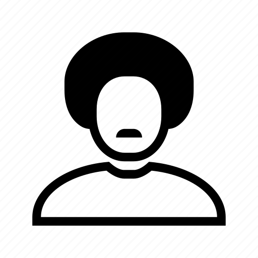 account, afro, hair, line, moustache, profile, user icon