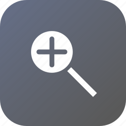 add, glass, lens, magnifier, search, zoom, zoomin icon
