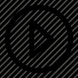 arrow, forward, next, play, replay, round icon