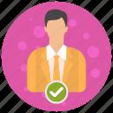 account, admin, administrator, check, profile, role, user, users icon