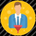 account, admin, administrator, filter, profile, role, user, users icon