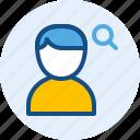 man, persona, search, user icon