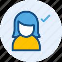 accept, persona, user, women icon