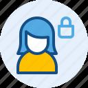 persona, private, user, women icon