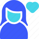favorite, female, user icon