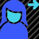 female, send, user icon