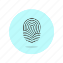 fingerprint, identity, lock, protect, scan, secure, shield icon
