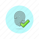 approve, check, fingerprint, identify, scan, tap, touch icon