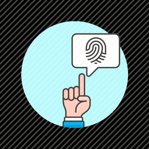 approve, bubble, check, fingerprint, gesture, secure, touch icon
