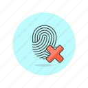 check, denied, fingerprint, identity, scan, tap, touch icon