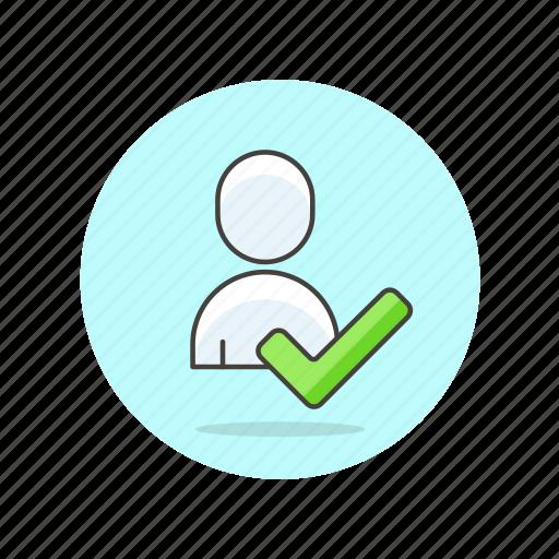 account, approve, avatar, check, done, person, profile, user icon