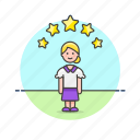 avatar, person, profile, rating, star, user, woman icon