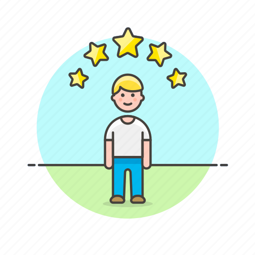 avatar, man, person, profile, rating, star, user icon