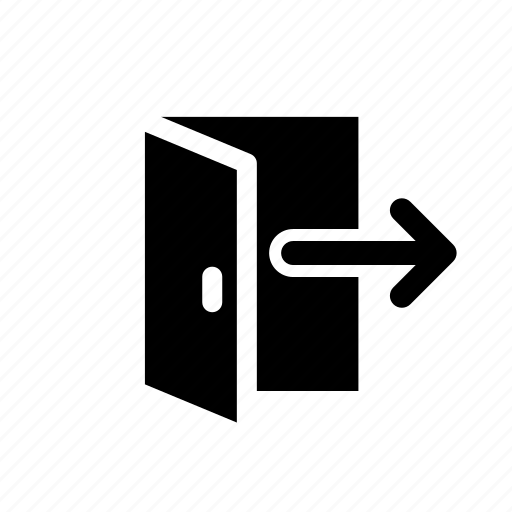 arrow, door, escape, exit, logout, out, sign icon