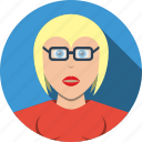 account, avatar, business, character, female, girl, glasses, manager, people, person, profile, user, woman icon