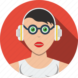account, avatar, character, female, girl, headphones, human, people, person, profile, user, woman icon