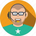 account, avatar, boy, business, character, glasses, human, male, person, profile, support, user icon