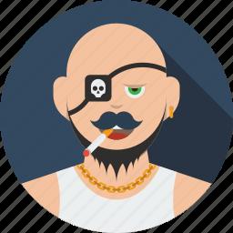 account, avatar, beard, boy, character, human, male, man, person, pirate, profile, user icon