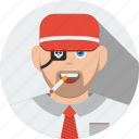 account, avatar, boy, character, human, male, man, people, person, pirate, profile, smoke, support, user icon