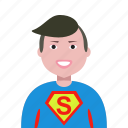 account, admin, administrator, avatar, hero, man, profile, superman icon
