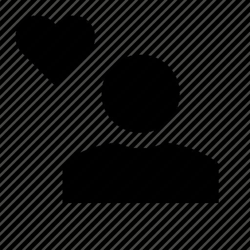 account, favorite, heart, man, person, profile, user icon