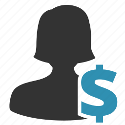 buyer, dollar, female, seller, woman icon