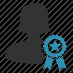 certified, female, winner, woman icon