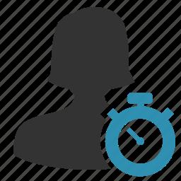 account, female, manage, trainer icon