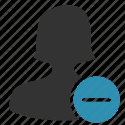 account, female, minus, remove, woman icon