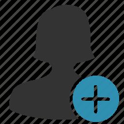 account, add, female, plus, woman icon